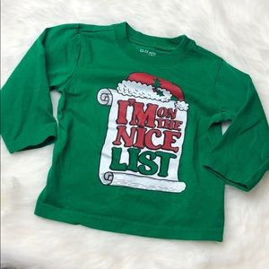 12-18 months infant Christmas Nice List shirt